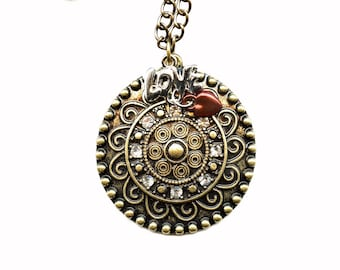 JEWELRY-PENDANT-BRASS Disc; Swarovski crystals,, charms, silver love, red heart, 18 inch brass chain, Christmas, Anniversary, women gift
