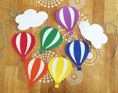 Rainbow Hot Air Balloon Garland, Hot Air Balloon Party Banner, Nursery Decor, Rainbow Decor