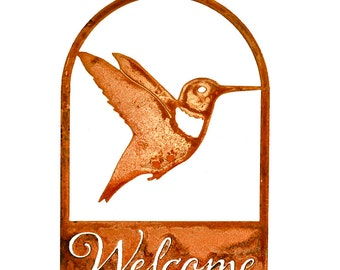 Hummingbird Welcome Sign - Steel Silhouette with Rusty Patina