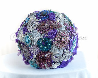 "French Lavender Wedding Brooch Bouquet. ""Purple Magic"" Crystal Silver Lavender Heirloom Bouquet. Bridal Broach Bouquet, by Ruby Blooms"