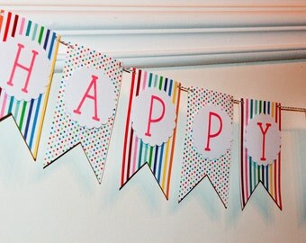 Colorful Birthday Banner, happy birthday, stripes & polka dots, rainbow banner, party decor, girls birthday party, decorations, photo prop