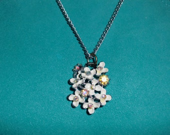 Vintage Flower Pendant Necklace - repurposed upcycled enamel rhinestone necklace