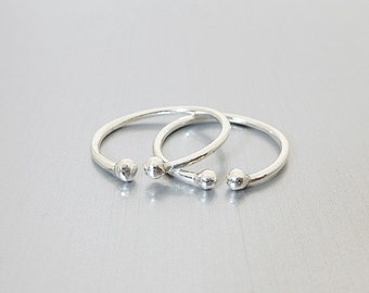 Sterling Silver Two Ball Knuckle Ring -  Adjustable Above Knuckle Rings  - Open Knuckle Ring - 1mm Slim Band Midi Rings