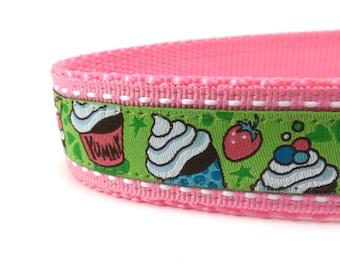 cupcakes on green dog collar, pink dog collar, pink and green, custom dog collar, ribbon dog collar