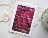 raindrops on roses card - sound of music quote / magenta rose photography