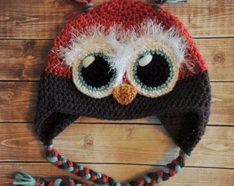 Owl Hat - Coral, Turquoise and Grey