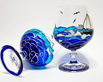 Beach Theme Wedding, Ocean Waves Glasses, Hand Painted Toasting Glasses