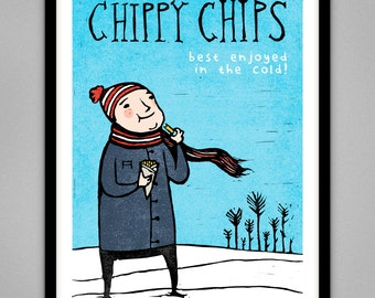Chippy Chips - Signed Limited Edition Giclee Print A4 & A3