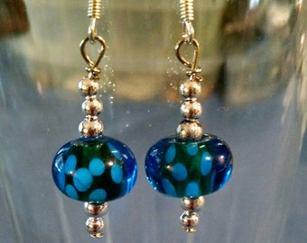 Blue and Green Glass Bead Earring Item No. 56