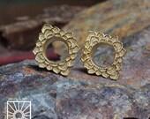 Lotus Ear Tunnels, Ear Plugs, Ear Gauges, Flash Tunnels, Scretched lobes, Gauge Jewelry, Piercing Jewelry, Gold Tunnels, Tribal ear Tunnels