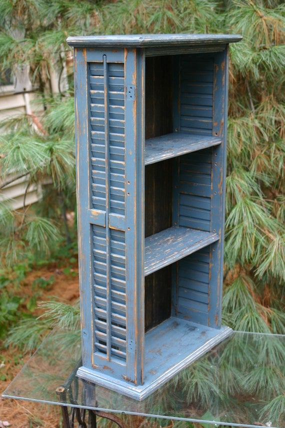 Repurposed Shutter Bookcase Shelves Distressed Shelf Cottage
