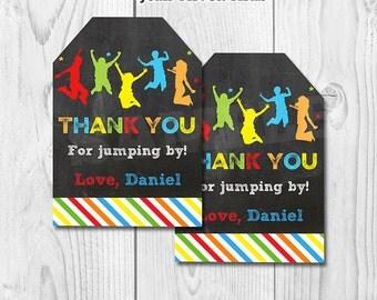 Jump favor tags, Jump gift tags, Bounce House favor tags, Jump Decoration, Trampoline favor tags, trampoline birthday printable DIY