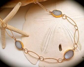 Druzy Necklace, Lavender Druzy, Hammered Gold, Stone Necklace, Sparkling Necklaces