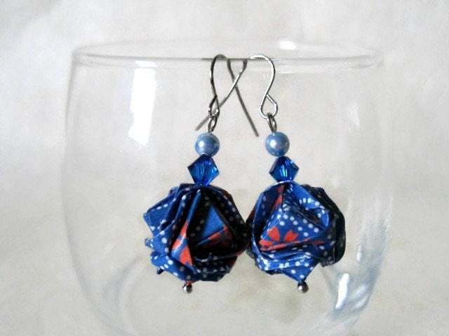 Origami earrings paper st anniversary gift
