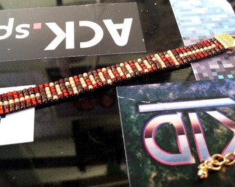 Supernatural Charlie inspired bracelet - brown, red and sand Miyuki bead bracelet with binary design