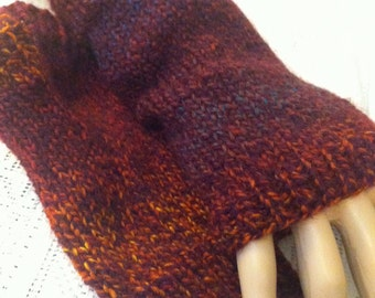Autumn Pink Orange Fingerless Gloves