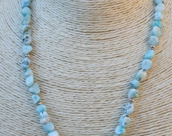 Handmade, Larimar nugget bead necklace, with blue faceted druzy agate focal bead. Hill Tribe silver beads and starfish on clasp.