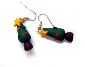 Christmas Tree Earrings, Festive Earrings, Christmas Jewellery, Polymer Clay Earrings, Xmas Jewellery, Colourful Tree Nature Earrings