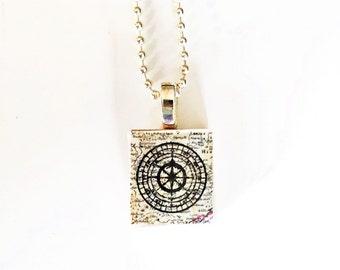 Compass Scrabble Tile Necklace