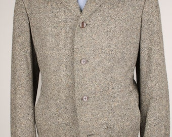 Vintage TWEED Grey Beige Flecked Wool Large Mens Coat Jacket