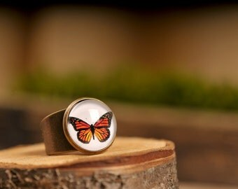 Monarch butterfly ring, adjustable ring, statement ring, butterfly ring, antique brass ring, glass dome ring, orange butterfly ring
