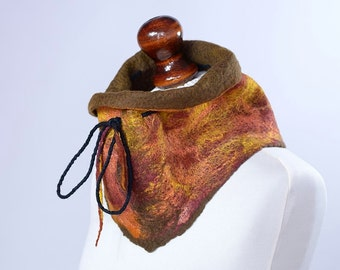 Natural autumn cowl scarf with drawstring - felted neck warmer made of soft wool in fall colors - felt neckwarmer [RNW1]