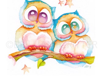 Owl Nursery Wall Art - Kid's Art Print - Owl Watercolor Print - Owl Watercolor Print - Owl Nursery Art - Cute Owl Painting - Owl Baby Art