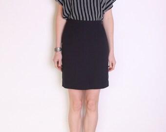 90's black wool pencil skirt, secretary skirt, office skirt, high waisted skirt, pin up skirt, minimalist skirt