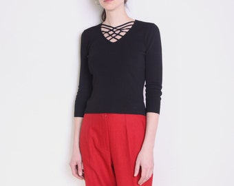 90's black crossed straps neckline blouse, cage, cutout, openwork, knitted grunge blouse, black blouse, decorative neckline