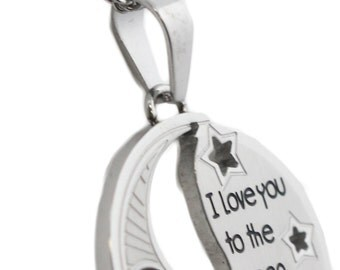 I Love You To The Moon And Back Cut-Out Pendant