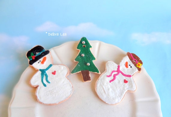 SALE Fake Cookies Set of 3 Handmade Faux Christmas Holiday Gingerbread Sugar Cookie Ornament Tree Snowman Couple C6