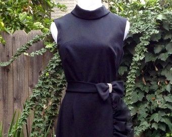 Vintage 70s Black Dress High Slit Full Length Bow Ruffles Details Sz 6