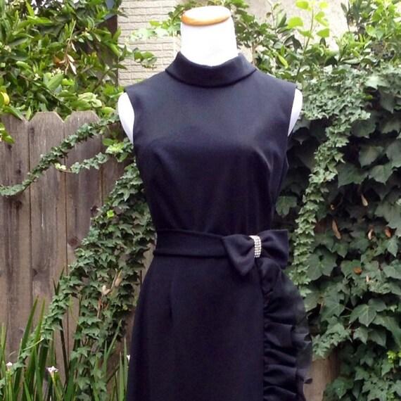 Vintage 70s Black Dress High Slit Full Length Bow Ruffles Details Sz 6