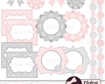 Floral Labels, Border Frame Clipart, Digital Scrapbook Elements, Pink and Grey Clip Art