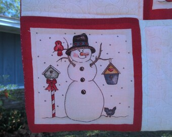 Snowman Christmas Wall Hanging Quilt - Machine Quilted Cotton on Batting