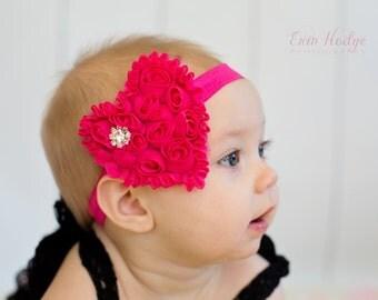 Valentine Headband,  baby Headband,  heart headband, hot pink headband, baby hair bow,  newborn Headband, Toddler Headband
