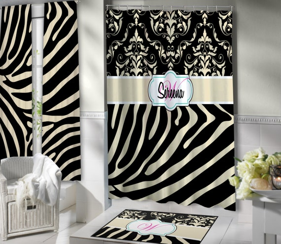 Animal Print Shower Curtain Black Amp Tan Fabric Shower