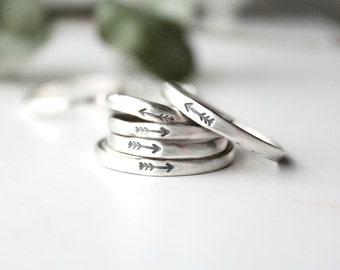Arrow Ring / Sterling Silver Arrow Ring / Follow You Arrow / Stamped Arrow / Bohemian Arrow Ring / Native Arrow Ring / Arrow Jewelry