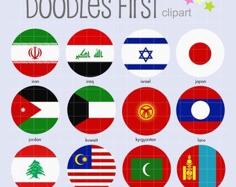 Asian Flags (2) Collage Sheets for Scrapbooking Card Making Cupcake Toppers Paper Crafts Digital Collage Sheet
