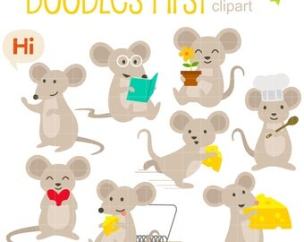 Merry Mouse Clip Art for Scrapbooking Card Making Cupcake Toppers Paper Crafts