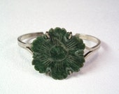 Vintage Colorful Jade Flower Button Bracelet Sterling Silver Bangle Carving Chinese