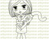 Digital Stamp - Nurse Nora(#160), Digi Stamp, Coloring page, Printable Line art for Card and Craft Supply