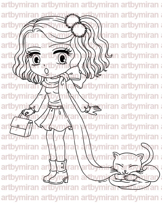 Digital Stamp - What's New Pussycat, Digi Stamp, Coloring page, Printable Line art for Card and Craft Supply