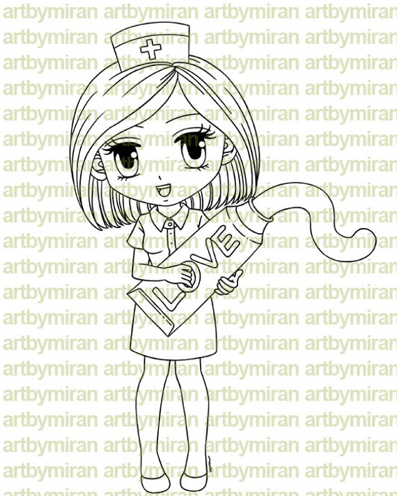Digital Stamp - Nurse Nora, Digi Stamp, Coloring page, Printable Line art for Card and Craft Supply
