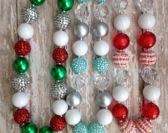 Christmas chunky necklace.. Holiday necklace.. Kids holiday necklace.. Kids holiday jewelry.. Kids Christmas jewelry