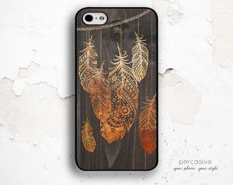 iPhone 5S Case Tribal Feather, iPhone 5C Case Feather - iPhone 4 / 4s Case, iPhone 6 Case, Rustic Wood iPhone 5S Feather Case :0832