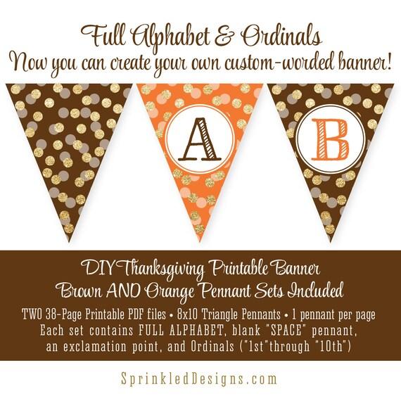 Printable Thanksgiving Pennant Banner Full Alphabet Custom
