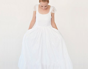 valentine's day sale 50% off White wedding dress, maxi bridal dress with lace sleeves, Wedding gown
