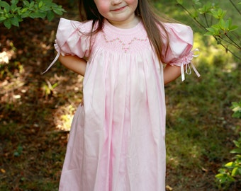 Girls pink dress  with hand smocking and ribbons in the smocked  puffy sleeves, cotton pique, birthday bishop dress. All season dress. 16488