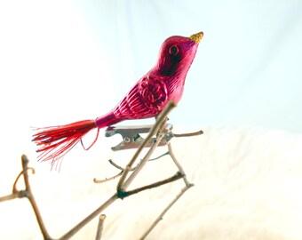 Vintage Christmas ornament, Red bird tree decoration
